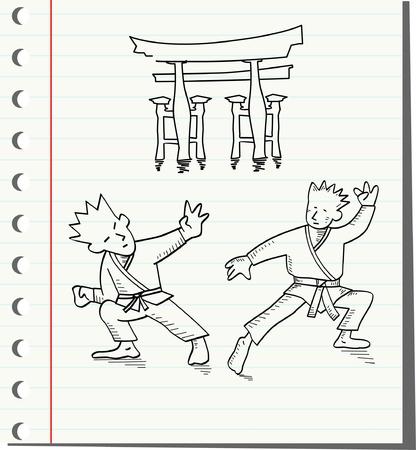 self defense: dos hombres que luchan, ilustraci�n vectorial