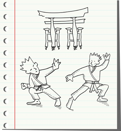 tumble: two men fighting ,vector illustration