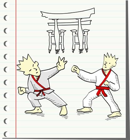 two men fighting ,vector illustration  Vector