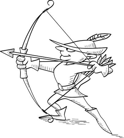 robin hood: Vector illustration of Robin Hood shooting an arrow