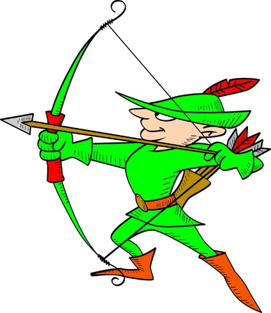 Vector illustration of Robin Hood shooting an arrow  Vector