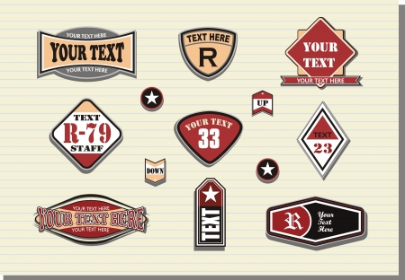 Vector set of retro labels  Illustration