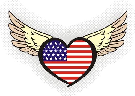 usa flag  United States of America  in heart shape  Illustration