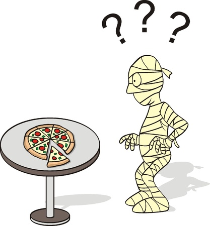 pizza and mummy cartoon