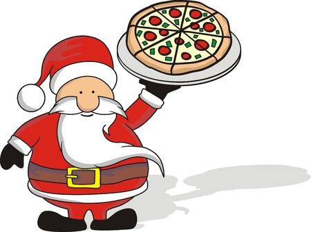 santa and pizza
