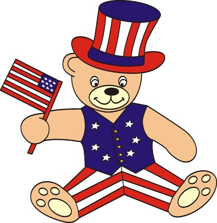Cute fourth of July patriotic bear  Vector