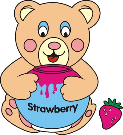 Teddy Bear play with his strawberry jar