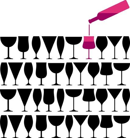 Wine glass pab bar design vector illustration