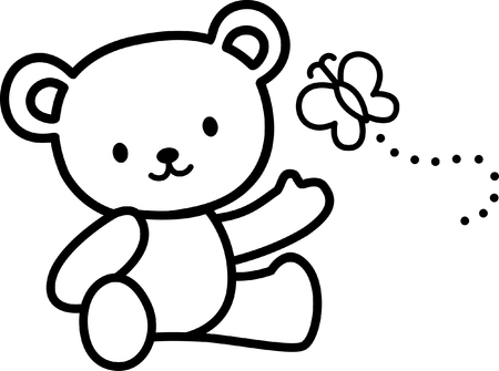 cute Teddy bears with butterfly Vector