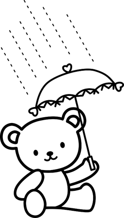 cute Teddy bears carrying umbrella Vector