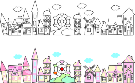City skylines in doodle style  Vector