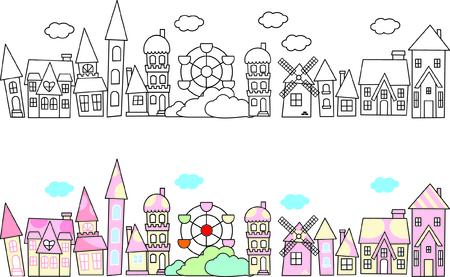 Stad skylines in doodle stijl Vector Illustratie