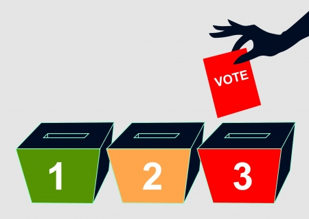 Hand with voting ballot and box on vector  Illustration