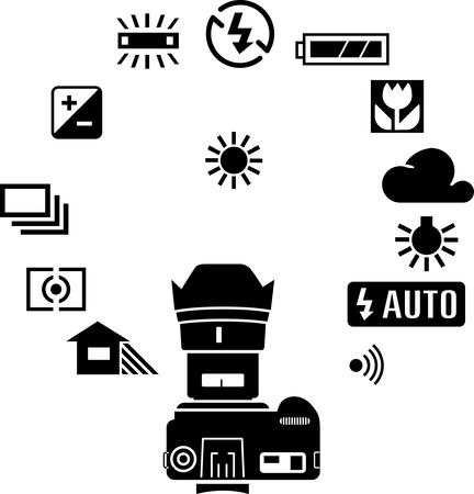 slr camera: Photography icons  Illustration