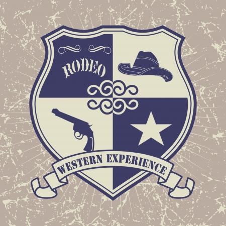 seal gun: Vintage American old west western designs  Illustration