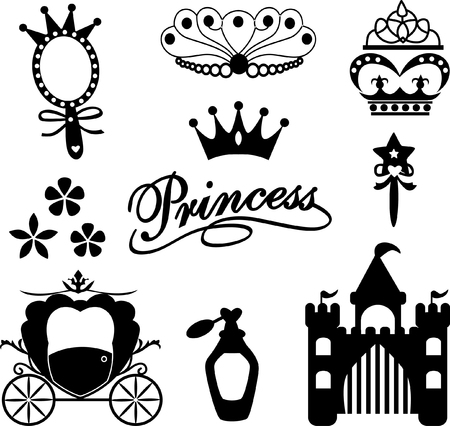 couronne princesse: collection d'ic�nes princesse Illustration