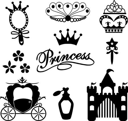 Kolekcja ikon księżniczka Ilustracje wektorowe