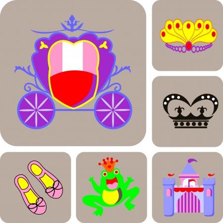 fem: Cute princess collection  Vector illustration