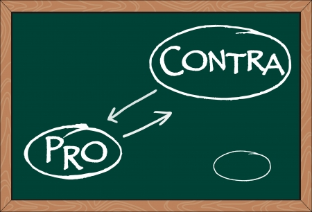 contra: pro contra word written on greenboard Illustration