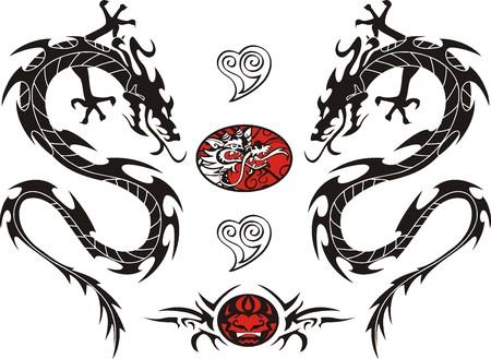部族タトゥー ドラゴン ベクトル イラスト