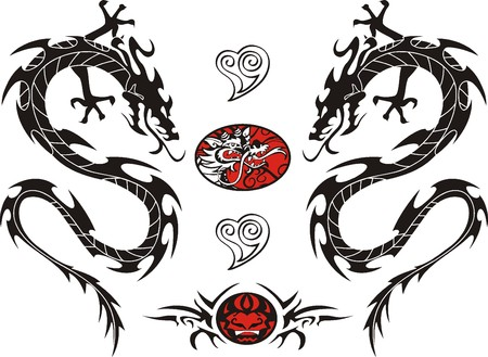 tribal dragon: Tribal Tattoo Dragon Vector Illustration