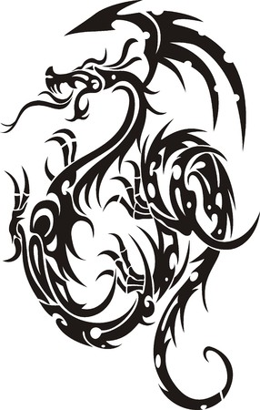 dragon tattoo: Tribal Tattoo Dragon Vector Illustration