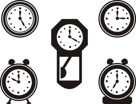 time   clock icons set, signs, vector illustration Stock Vector - 22198803