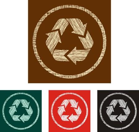 grunge etiqueta de reciclaje Ilustración de vector