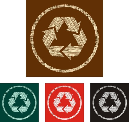 grunge recycle label Vector