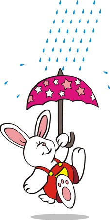admirable: Cute rabbit in the rain