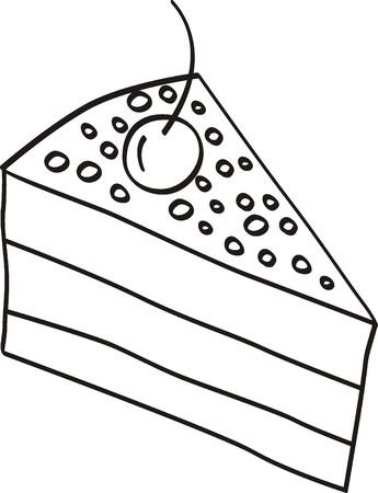 Stück Kuchen doodle Vektorgrafik