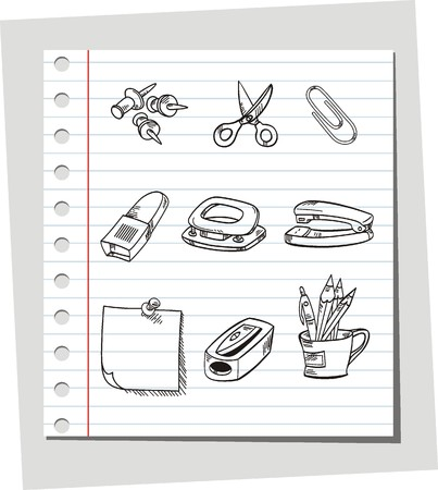 Icons set Office equipment Vector