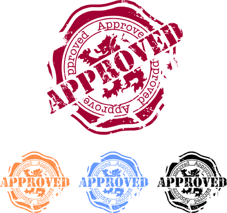 rubber stamp with the word approve Vector