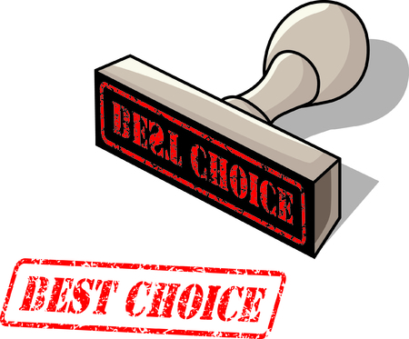 rubber stamp with the word best choice