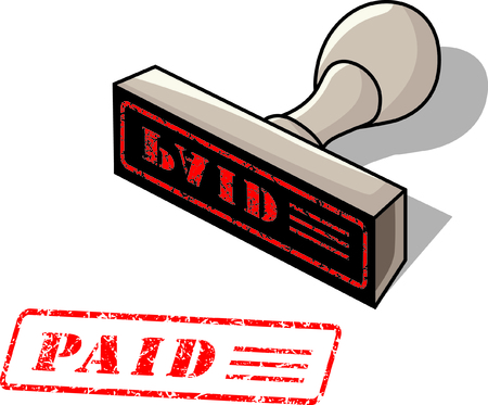 rubber stamp with the word paid Vector
