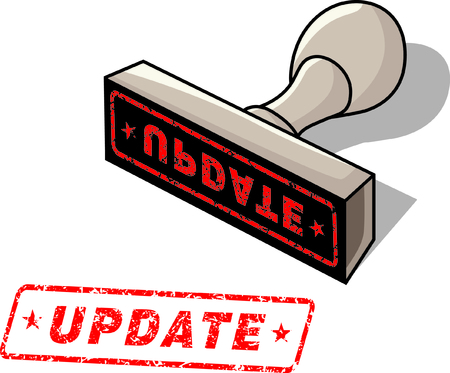 rubber stamp with the word update Vector