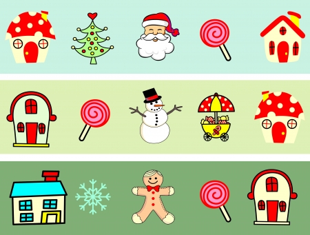 Christmas icons, elements and illustrations  Vector