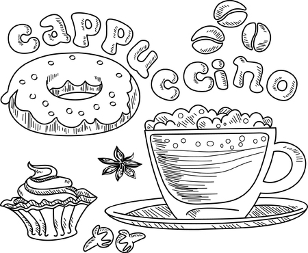 vector illustration glass cup of cappuccino with cake