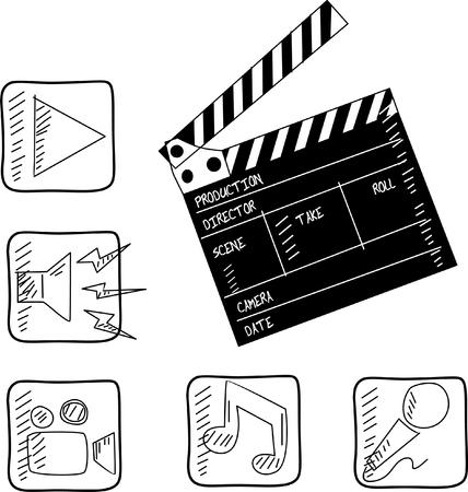 film set: film set clapper   vector illustration  Illustration
