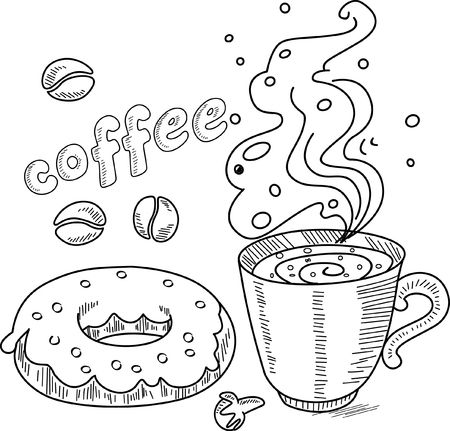 tier: vector doodle cup of coffee with cake  Illustration