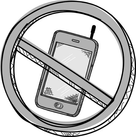 no cell: No Tel�fono celular vector garabato Vectores