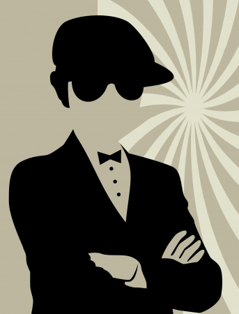 fake mustaches: Silhouette Retro Party on vector illustration