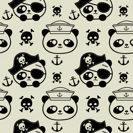 cute little panda sailors and pirate seamless