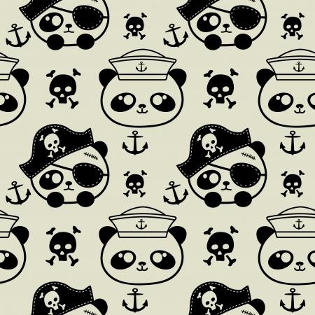 cute little panda sailors and pirate seamless