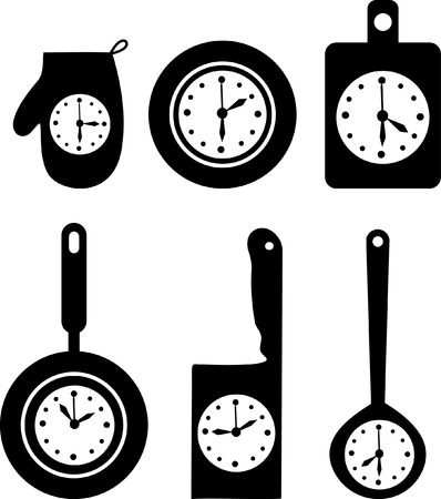 clock icons on kitchen utensil vector illustration Stock Vector - 24094313
