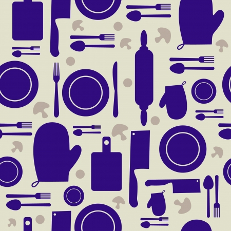 Seamless kitchen tool collection  Vector