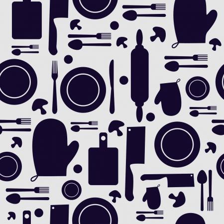 kitchen tool: Seamless kitchen tool collection  Illustration