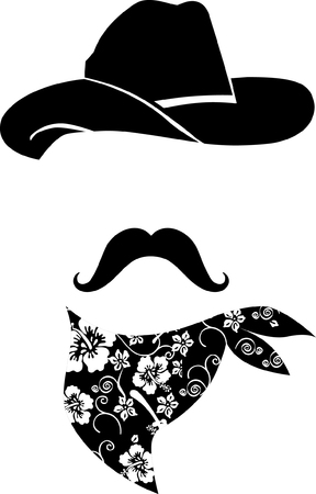 Cowboy icon  Retro Hat, mustache and scarf