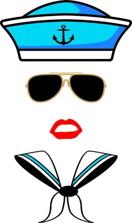marinha: Marinheiro - chap�u, �culos escuros, l�bios e �cone len�o