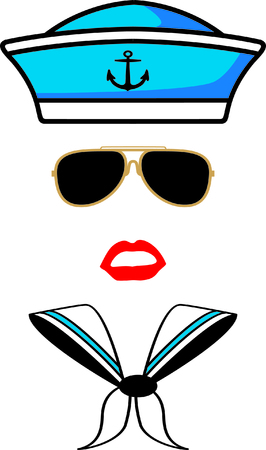 sailor hat: Sailor - hat,sunglasses,lips ,and scarf icon